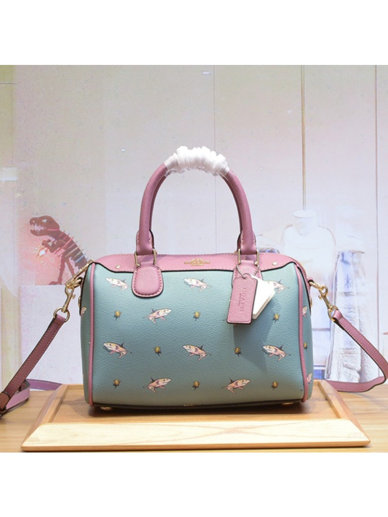 Coach Mini Bennett Boston Bag with Shark Print in Crossgrain Leather Sky Blue