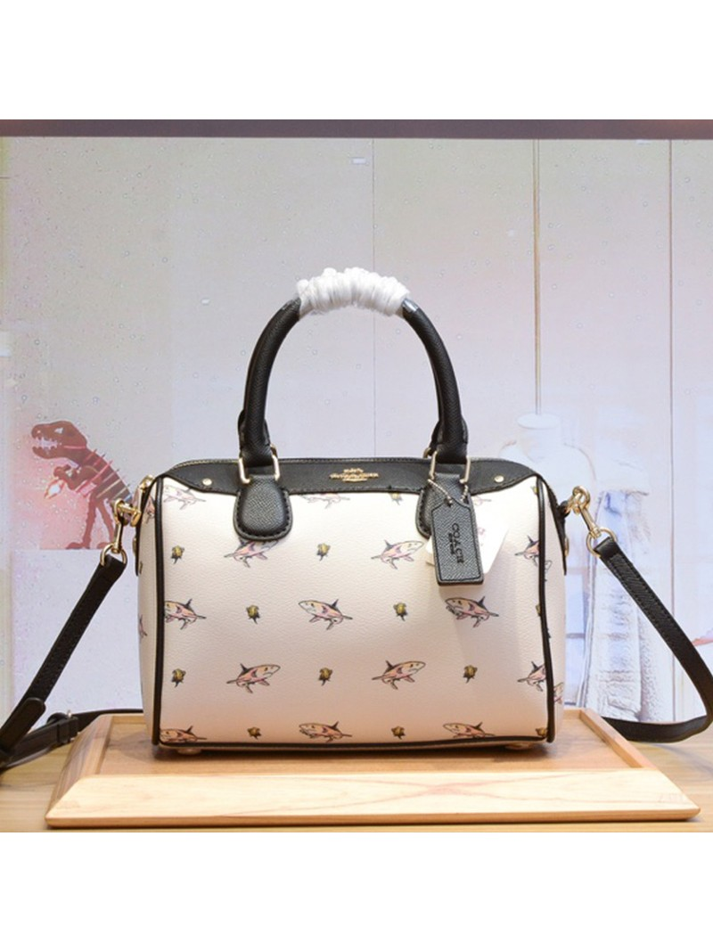 Coach Mini Bennett Boston Bag with Shark Print in Crossgrain Leather White