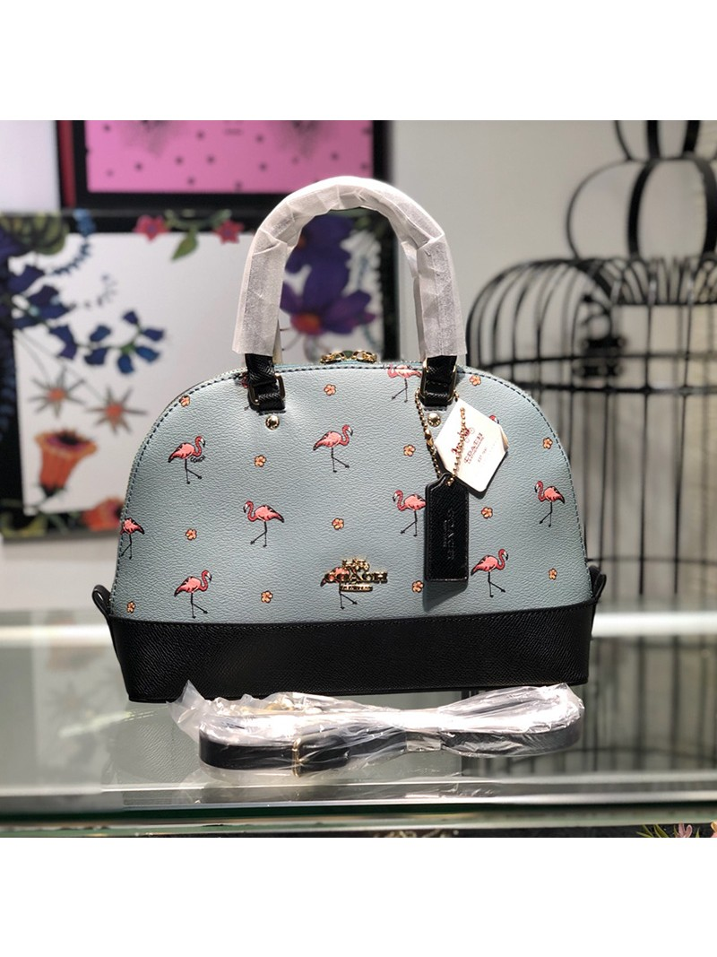 Coach Mini Sierra Satchel with Flamingo Print in Crossgrain Leather Sky Blue