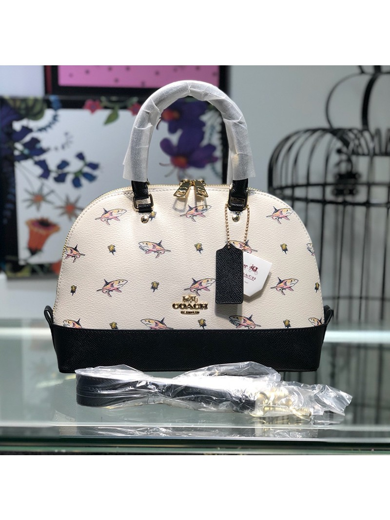 Coach Mini Sierra Satchel with Shark Print in Crossgrain Leather White