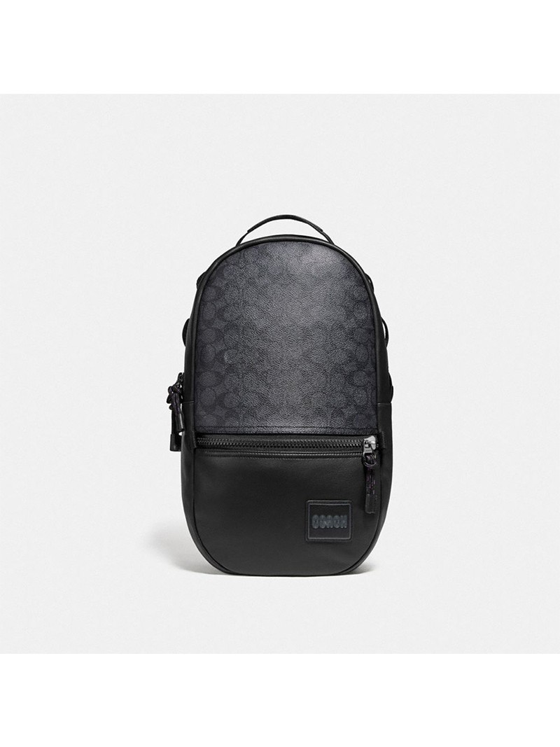 Coach Pacer Backpack In Signature Canvas With Coach Patch Black