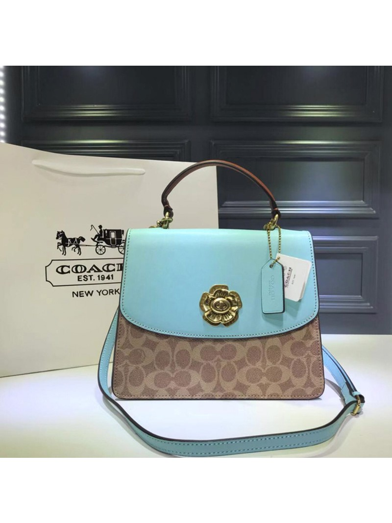 Coach Parker Top Handle In Signature Canvas Sky Blue
