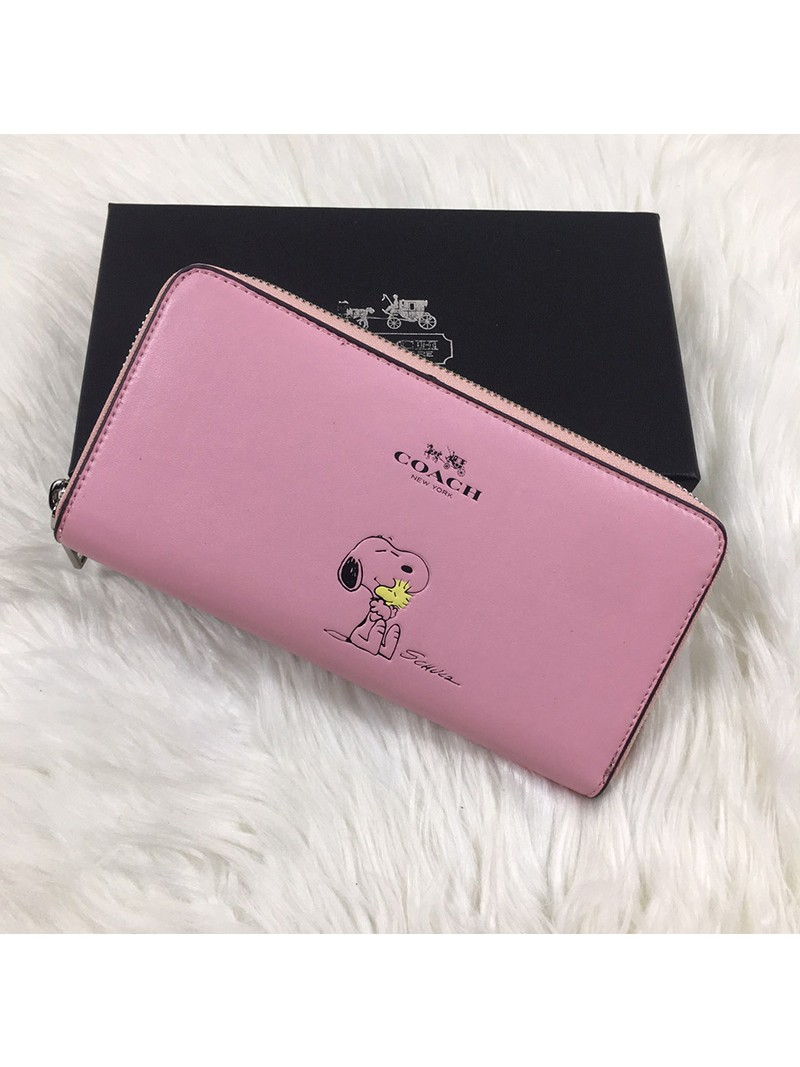 Coach X Peanuts Accordion Zip Wallet In Calf Leather Pink