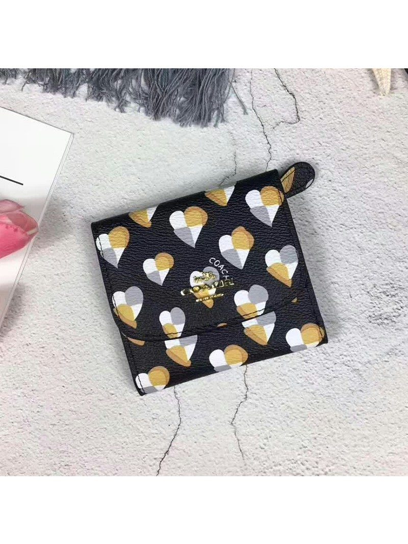 Coach Small Trifold Wallet with Checker Heart Print in Signature Canvas Black