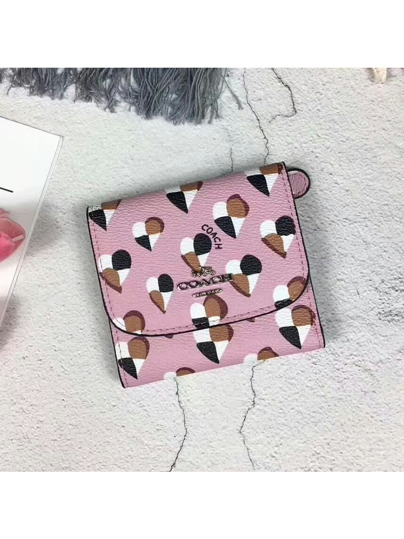 Coach Small Trifold Wallet with Checker Heart Print in Signature Canvas Pink