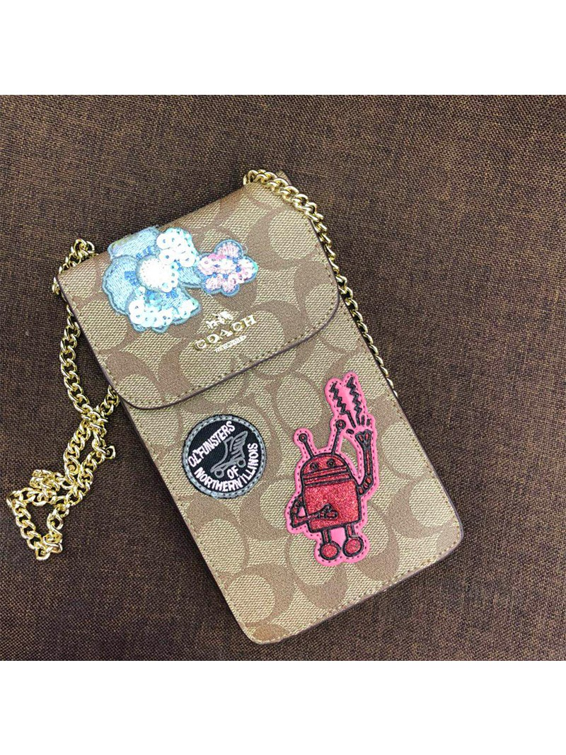 Coach Keith Haring North South Phone Crossbody In Signature Canvas With Patches Beige